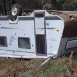 overturned caravan